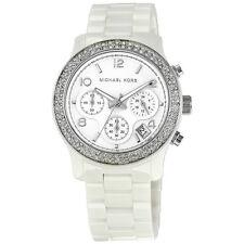 Michael Kors White Dial Ceramic Strap with Glitz Watch MK5188