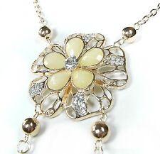 NEU 70cm HALSKETTE Blüten STRASSSTEINE kristallklar BLUMEN ANKERKETTE farbe gold
