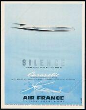 1954 streamlined Caravelle plane art Air France vintage print ad