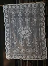 "SHABBY CHIC FOLK ART HEARTS TOILE cotton designer white lace panel prim 28""/42"""