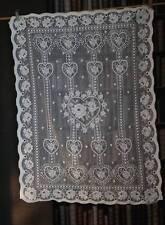 "SHABBY CHIC FOLK ART HEARTS TOILE cotton designer white lace panel prim 28""/42"""