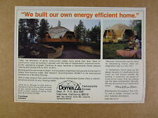 1980 Cathedralite Domes Homes House geodesic dome photo vintage print Ad