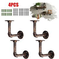 4Pcs Industrial Retro Design Wall Pipe Rack Shelf Shelves Storage Hanging Holder