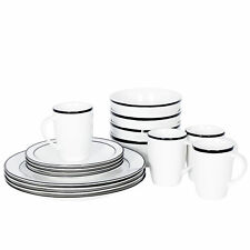 Black 16-Piece Kitchen Dinnerware Set Include Plates Bowls Mugs Service For 4