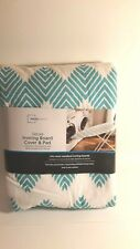 Mainstays Deluxe Ironing Board Cover & Pad Teal Chevron Fits Most Ironing Boards