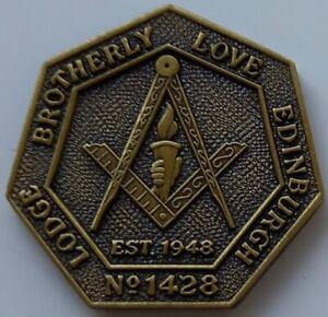 MASONIC MARK TOKEN PENNY LODGE BROTHERLY LOVE 1428