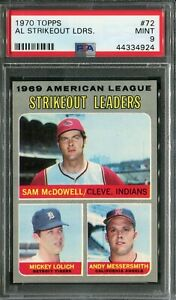 1970 Topps #72 A.L SO Ldrs. McDowell/Lolich/Messersmith PSA 9 Mint!