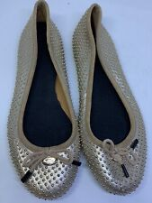 "Coach Womens Shoes Metallic W/gold Balls Ballet Flats ""Sample"" Size Approx 8.5"