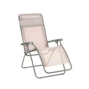 Lafuma Folding Reclining Lawn Chair Zero Gravity Steel Frame R-Clip Magnolia