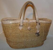Brighton Natural Straw & Leather Tote Handbag w/ Key Chain & Heart Fob