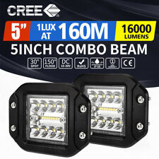 2 x 5inch CREE LED Work Light Flush Mount Spot Flood Reverse Offroad 4x4