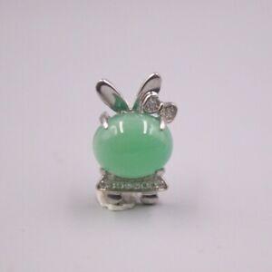 New S925 Sterling Silver Women Luck Green Chalcedony Rabbit Pendant 21x12mm