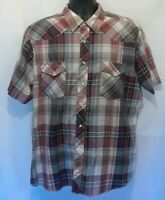 Wrangler Western Mens Shirt Size XL Brown Multicolor Plaid Pearl Snaps S-Sleeve