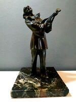 scultura bronzo antica napoli PULCINELLA statua Art Decò marmo nero ottone italy