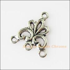 25Pcs Antiqued Silver Tone Flower Charms Pendants Connectors 17x19mm