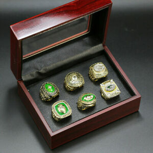 6pcs Philadelphia Eagles World Championship Ring Display Set with Box