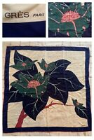 """GRES Paris Vintage Silk Scarf Floral Flower Made Italy 33"""" x 33"""" Blue Green Pink"""