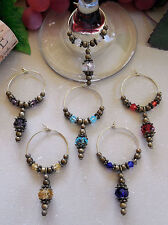 Set of 6 Antique Bronze Wine Glass Charms Packaged for Mother's Day Gift Giving!