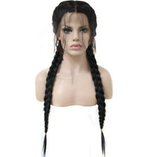 """26"""" Braided Lace Synthetic Black Front Wig With Baby Hair Long Straight Wigs"""