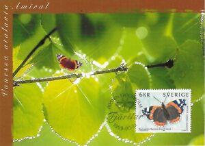 Admiral Vanessa Atalanta Butterfly Sweden Mint Maxi FDC Card 1999