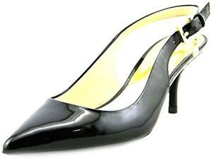 New ($128) Michael Kors Kelsey Kitten Slingback Patent Leather Black Pumps 7.5