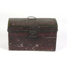 Antique document box tin toleware deed primitive tole painted black red