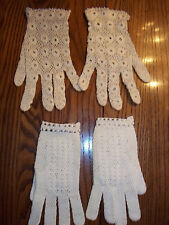 Vintage 2 Pair Hand Crocheted Off White Wrist Gloves - Rare Find!