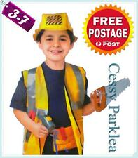 Kids Fancy Dress Up Construction Worker Talent's Builder Costume+ Accessories