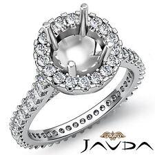 Halo Prong Set Diamond Engagement Ring Platinum 950 Round Shape Semi Mount 1.5Ct