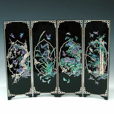 Mother of Pearl Wood Folding Screen Wall Plaque Decor
