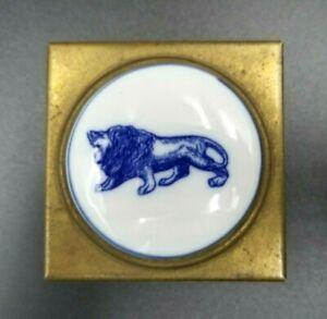 Vintage Brass Stamp or Pill Box Delft Porcelain Lion Passant Cabochon Leo Gift