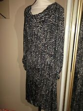 GHOST Black Grey Silver Bronze Midi Jersey Pencil Cowl Neck Evening Dress 12 A1