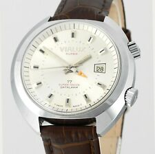 Vintage New Old Stock VIALUX Super-Shock Date Alarm All Swiss Mens Wrist Watch