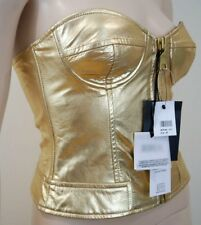MOSCHINO CHEAP & CHIC Gold Metallic Leather Bustier Corset Top UK8; IT40 BNWT