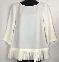 J JILL Crepe Blouse Small Cream Pleated Hem Pullover 3/4 Sleeve Scoop NEW #1474