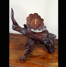 Teak Reclaimed DriftWood Clock 02,Wooden Carvings,Rustic,Home Decor,Farmhouse