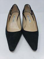 Manolo Blahnik women's kitten heel pumps Black Suede38.5 US 8 Crisscross side