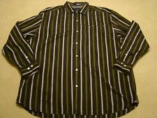 Tommy Bahama Mens Long Sleeve Button up Shirt 2XL Railroad Track Design Cotton