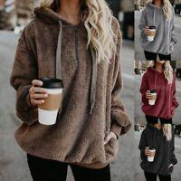 Women Ladies Fleece Hoodie Hooded Coat Tops Winter Warm Pocket Jacket Plus Size