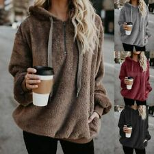 Women Ladies Fleece Hoodie Hooded Coat Tops Winter Warm Pocket Jacket Plus Size