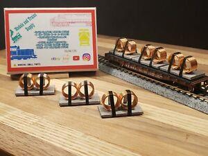 N Scale Gondola and flatcar Load Custom Made metal Coil load COPPER - SILVER 6PK