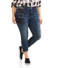 0fdcc6242de Womens 22w Slim BOYFRIEND Jeans Distressed Blue Denim Faded Glory