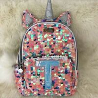 """Justice Backpack Unicorn Mini Initial """"T"""" Flip Sequin Pastel Pink Flip Bling NEW"""
