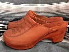 Vintage 70s Sunseekers Platform Clog Shoe Brown Leather Boho Laced Wood 8 Rare!