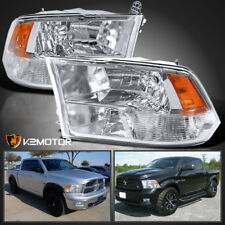 2009-2018 Dodge Ram 1500/2500/3500 Crystal Quad Headlights Lamps Left+Right