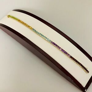 "Vintage 14k Yellow Gold Multicolor Gems Rainbow Tennis Bracelet Semi-Precious 7"""