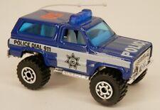 Matchbox 1980s Chevrolet Blazer Blue/BlueBar Police 4x4 K5 Chevy 1:56 Scale