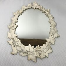 Vintage Cast Iron Art Wall Mirror Grapevine Leaves Ornate 15 x 12