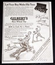 1919 OLD MAGAZINE PRINT AD, AC GILBERT, NEW WHEEL TOY, LET YOUR BOY MAKE TOYS!