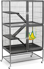 Ferret Birds Cage Home with Stand Ramps Shelves With Hammock and Spacious Storag